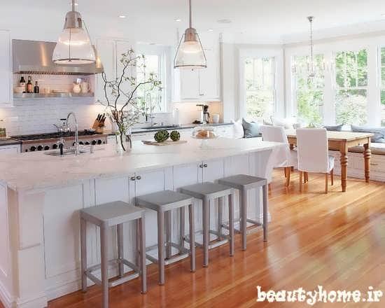 طراحی مدل دکوراسیون آشپزخانه سفید رنگ