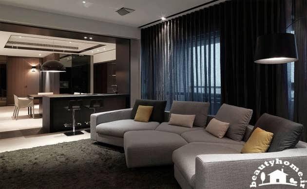 طراحی دکوراسیون داخلی منزل رنگ تیره
