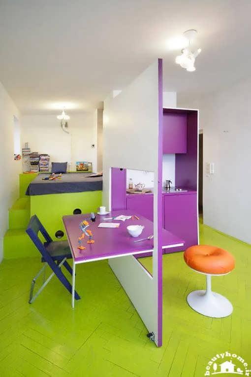 طراحی دکوراسیون داخلی خانه کوچک با پارتیشن مدرن بنفش