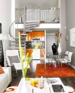 طراحی دکوراسیون داخلی خانه کوچک با ایجاد راه پله