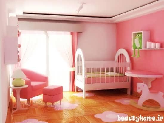 دکوراسیون اتاق نوزاد صورتی و گل بهی