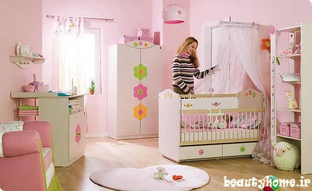دکوراسیون اتاق نوزاد صورتی سیر