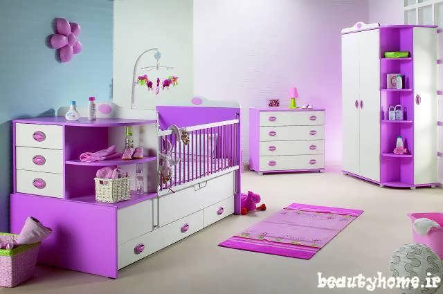 دکوراسیون اتاق نوزاد بنفش و سفید