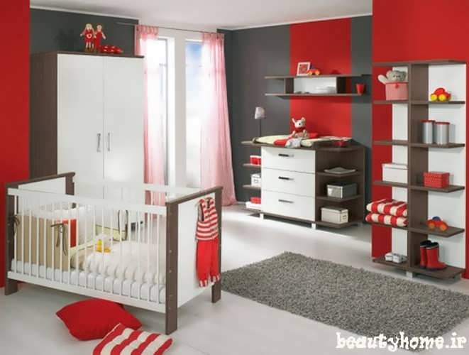 دکوراسیون اتاق نوزاد قرمز و سفید