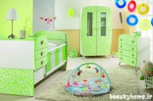 دکوراسیون اتاق نوزاد سبز روشن و پسته ای