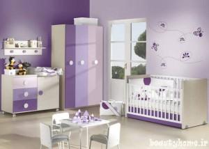 دکوراسیون اتاق نوزاد بنفش و سوسنی