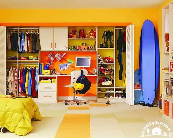 مدل کمد کودک جدید شیک و مدرن زرد و نارنجی