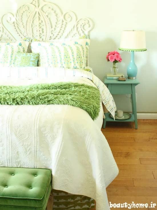 طراحی دکوراسیون اتاق خواب با رنگ دیوار سبز