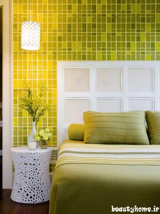 طراحی دکوراسیون اتاق خواب سبز رنگ