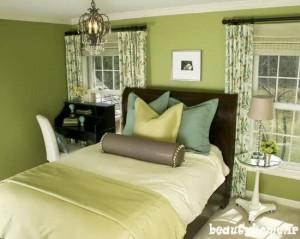 طراحی دکوراسیون اتاق خواب سبز مدرن 2013