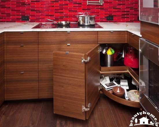 طراحی دکوراسیون آشپزخانه کوچک کابینت جادار