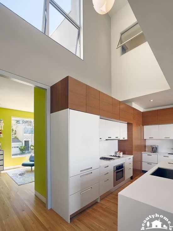 طراحی دکوراسیون آشپزخانه کوچک و جدید سفید