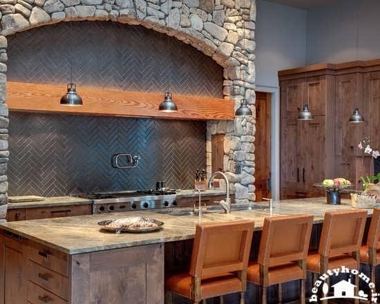 طراحی دکوراسیون آشپزخانه کوچک نمای سنگی