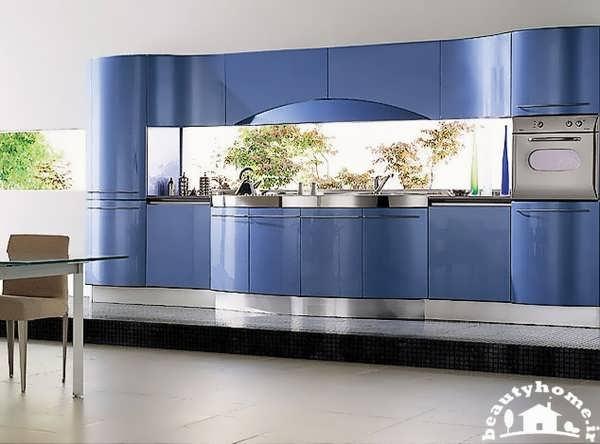 کابینت آبی برای دکوراسیون آشپزخانه مدرن