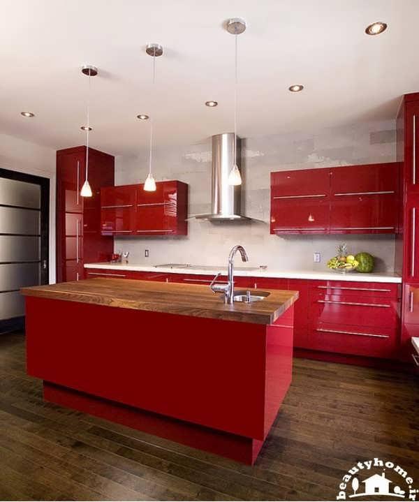 کابینت قرمز برای دکوراسیون آشپزخانه مدرن