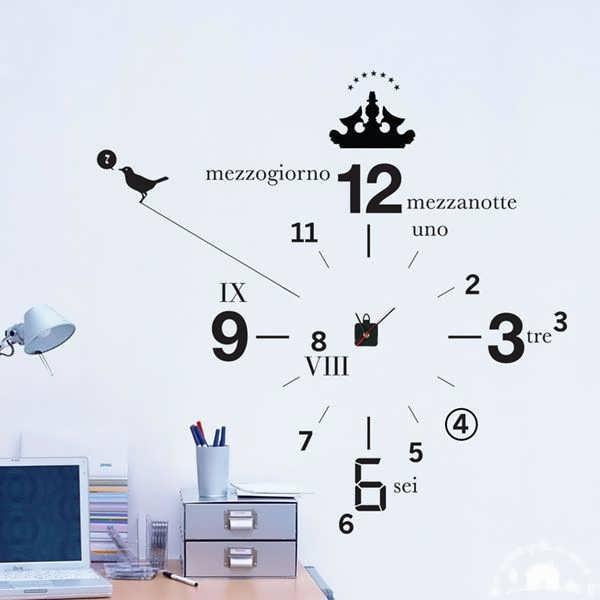 نقاشی و طراحی روی دیوار با ایده ی رسم ساعت