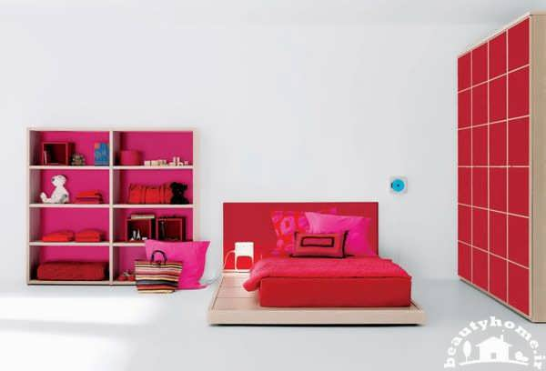 طراحی اتاق خواب دخترانه مدرن با رنگ قرمز