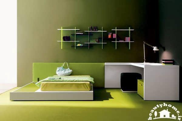 اتاق خواب دخترانه مدرن سبز رنگ