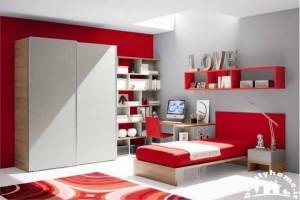اتاق خواب دخترانه قرمز و سفید
