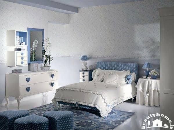 طراحی اتاق خواب دخترانه آبی