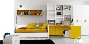 طراحی جدید اتاق خواب دخترانه زرد رنگ