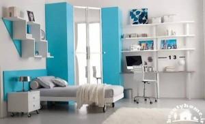 اتاق خواب دخترانه آبی و سفید