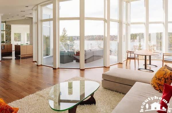 معماری داخلی خانه با طراحی فوق مدرن پنجره ها