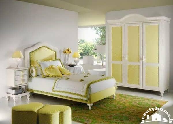 دکوراسیون اتاق خواب دخترانه لیمویی و زیبا
