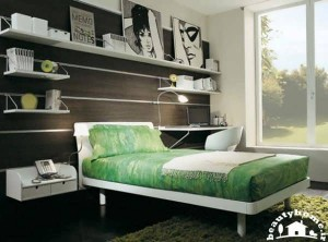 دکوراسیون اتاق خواب دخترانه با تخت سبز