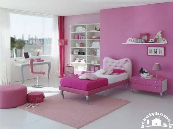 دکوراسیون اتاق خواب دخترانه صورتی و زیبا