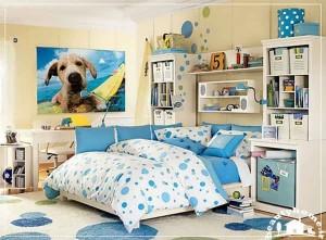 دکوراسیون اتاق خواب دخترانه آبی مدرن