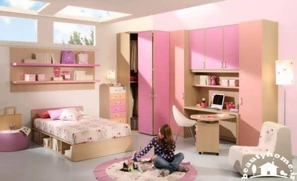 دکوراسیون اتاق خواب دخترانه مدرن صورتی