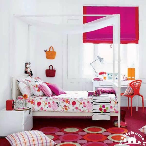 دکوراسیون اتاق خواب دخترانه قرمز مدرن