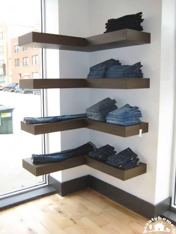 مدل قفسه دیواری جدید و مدرن برای قرار دادن لباس و فروشگاه