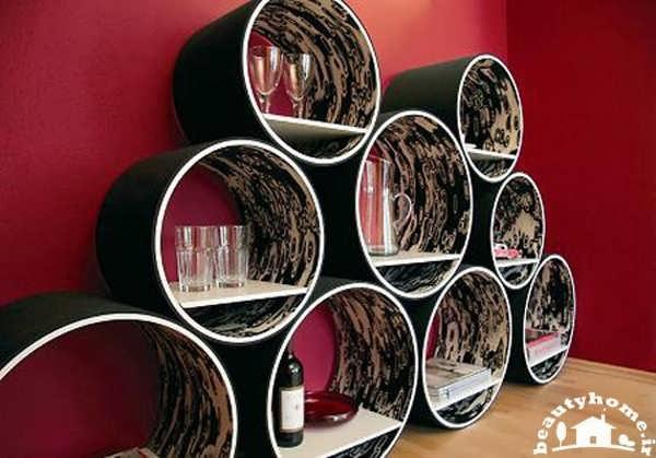مدل قفسه دیواری جدید گرد و دایره برای کتاب و لوازم تزئینی
