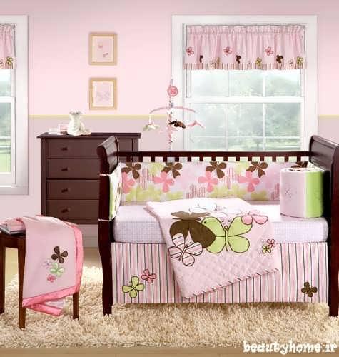 چیدمان اتاق نوزاد صورتی با طراحی شیک