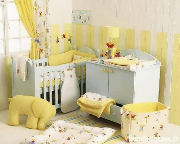 چیدمان اتاق نوزاد با رنگ زرد و طراحی شیک
