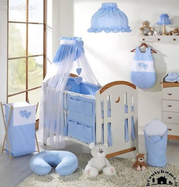 چیدمان سیسمونی نوزاد پسر با رنگ آبی و سفید