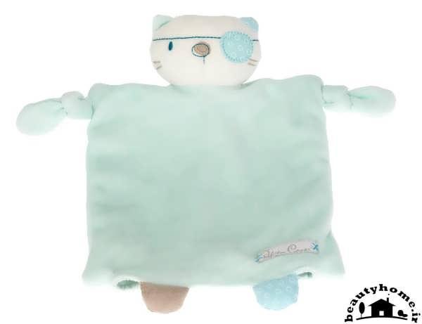 عروسک سیسمونی نوزاد پسر با ست آبی و سفید