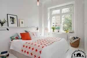 دکوراسیون اتاق خواب سفید نارنجی