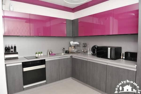 دکوراسیون بنفش خاکستری آشپزخانه