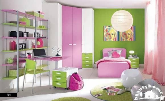 دکوراسیون داخلی اتاق کودک سبز صورتی