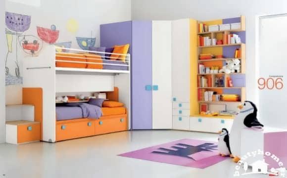 دکوراسیون داخلی اتاق کودک آبی نارنجی