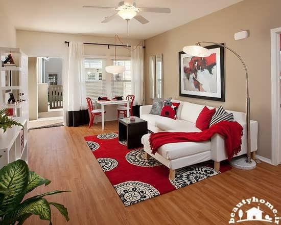 دکوراسیون اتاق پذیرایی قرمز رنگ