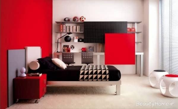دکوراسیون قرمز و مشکی اتاق پسرانه