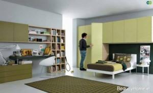 اتاق پسرانه با کتابخانه