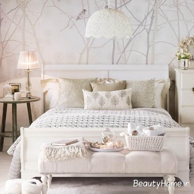 اتاق خواب سفید با نورپردازی متفاوت