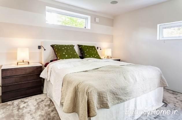 اتاق خواب سفید سبز