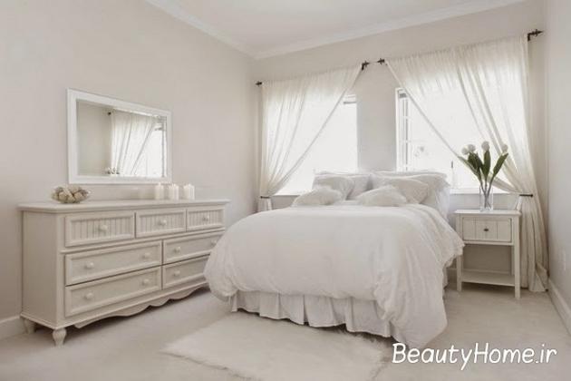 اتاق خواب شیک سفید