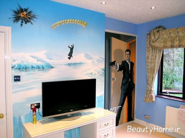 طراحی دیوارها در اتاق خواب پسران